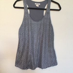 Lucky Brand lace overlay in dark gray Sz L